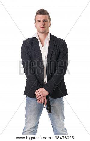Elegant man with gun, dressed as a spy or secret