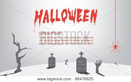 Halloween Signs Of Gray For Content With A Background As A Tomb Flat Vector.