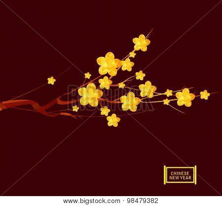 Chinese New Year 2016, Japanese golden geometrical plum blossom