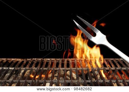 Weekend Barbecue. Flaming Charcoal Grill