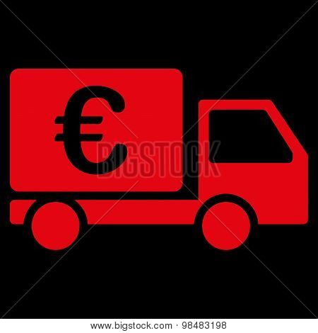 Collector car from BiColor Euro Banking Icon Set. Vector style: flat, red symbol, rounded angles, black background. poster