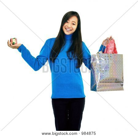Girl Holding A Gift Bag