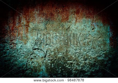 Bloody Stain On Dirty Brick Wall With Vintage And Vignette Tone