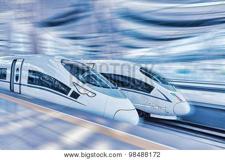 Modern Hi-speed  Passenger Train. Motion Effect.