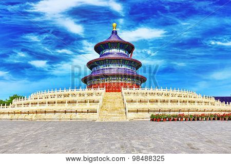 Wonderful and amazing temple - Temple of Heaven in Beijing China poster