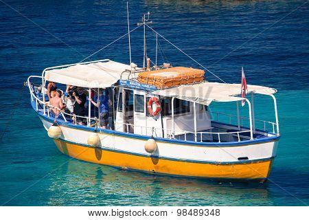 Sightseeing Boat At Comino Island, Malta