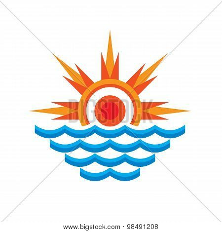 San & sea - vector logo concept illustration. Sun rays and wave water. Vector logo template.
