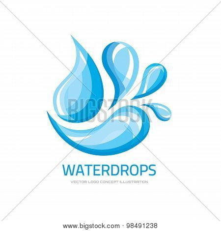 Water drops - vector logo concept illustration. Abstract water drops logo. Vector logo template.