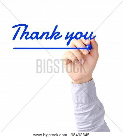 Right hand of young business man writing Thank you with blue marker on transparent board poster