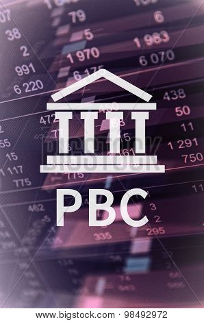 "Building icon with inscription ""PBC"". Financial data on background. poster"