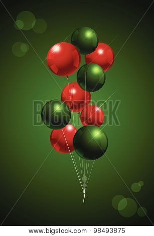 Chirstmas Balloon Party Background. Red And Green Color Vector Illustration.