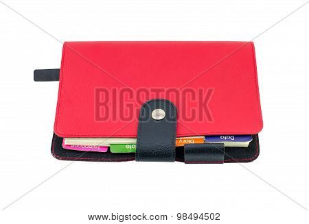Red Leather Diary Book Isolate On White With Clipping Path