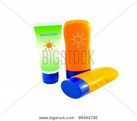Summer concept : Beach items - Bottles with sunblock lotion isolate on white with clipping path poster
