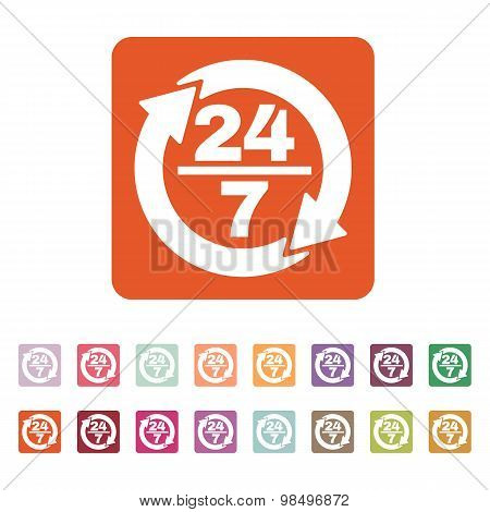 The 24 7 icon. Open and assistance, support symbol