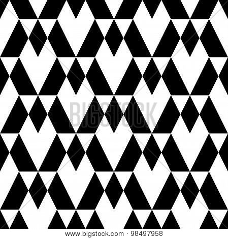 Black And White Geometric Seamless Pattern With Diamond And Trapezoid, Abstract Background.