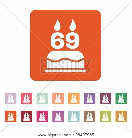 The birthday cake with candles in the form of number 69 icon. Birthday symbol. Flat