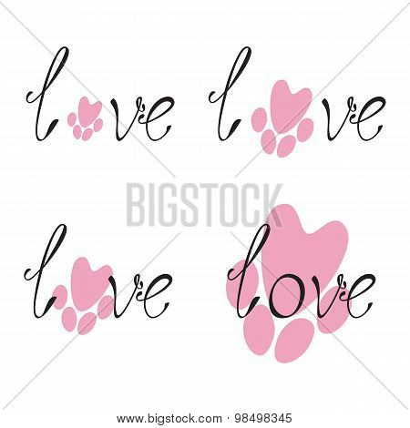 Set Of Love Lettering And Paw Print