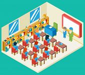 Education and school class isometric 3d concept. Bookshelf and teacher, pupil and isometric people, classroom and children, vector illustration poster