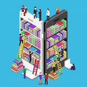 Isometric online mobile library vector flat concept. E-books 3d illustration with micro people poster