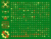 365 air drone and quadcopter tool icons. Icon set style: flat raster bicolor images, orange and yellow symbols, isolated on a green background. poster