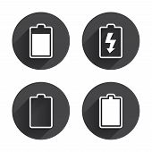 Battery charging icons. Electricity signs symbols. Charge levels: full, empty. Circles buttons with long flat shadow. Vector poster