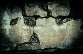 Grunge dirty brick wall with vintage and vignette tone - Horror and Scary Wall background poster