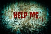 Help me bloody on dirty brick wall with vintage and vignette tone - Horror and Scary Wall background poster