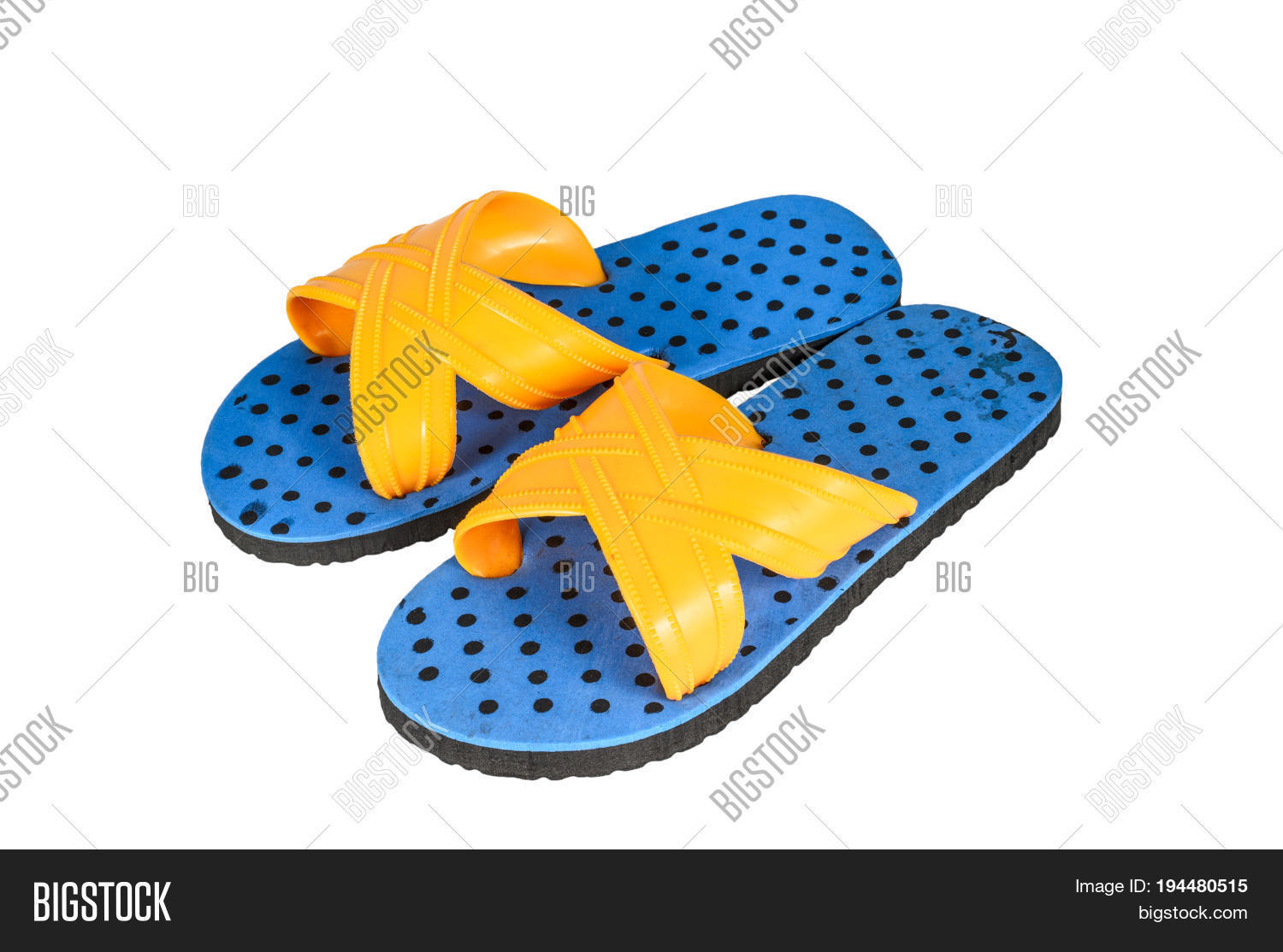 1fe7236793c Blue Flip Flops Isolated On White Background. Top View