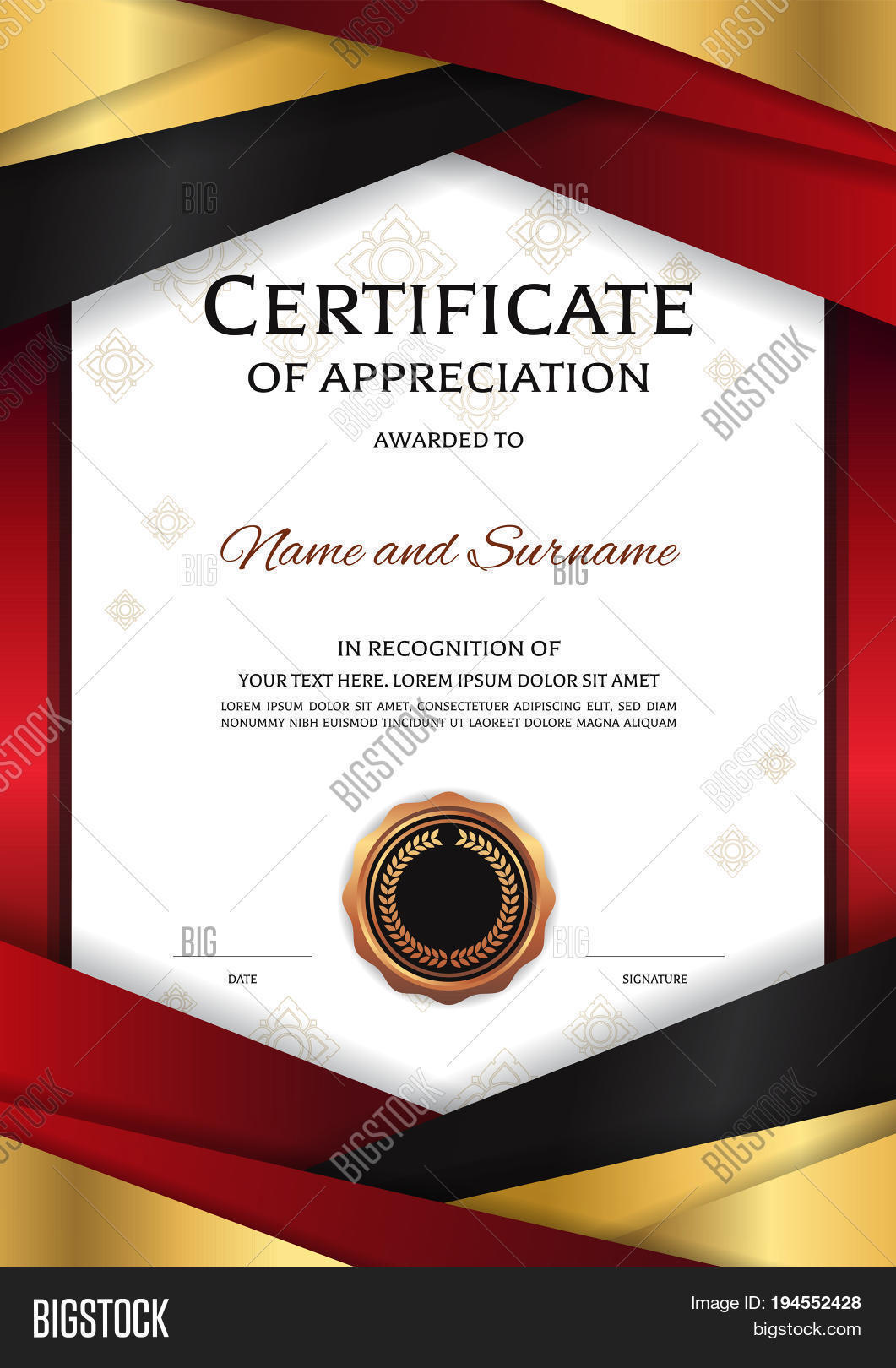 Portrait luxury certificate vector photo bigstock portrait luxury certificate template with elegant golden red border frame diploma design for graduation or completion yadclub Image collections