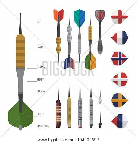 Darts structure and elements. Tip and barrow and shaft and flight. Arrow for sport and leisure theme design. Vector illustration art