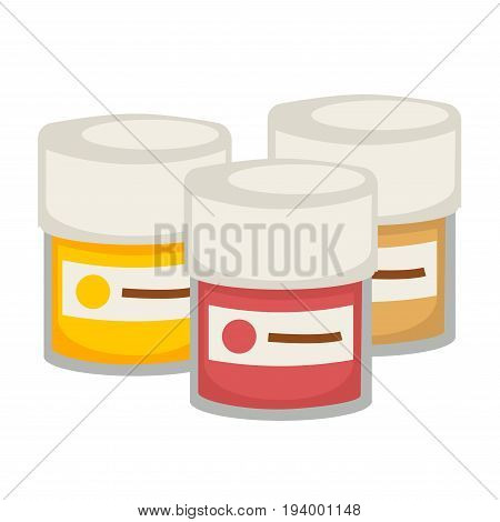 Small gouache paint transparent containers with stickers that shows what color inside of yellow, red and beige colors and tight cover isolated cartoon vector illustration on white background.