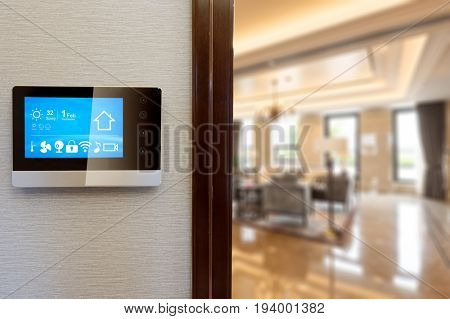 smart screen on wall with modern living room
