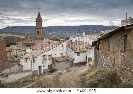 a view over Martin del Rio town and the Nuestra Senora de la Asuncion church, province of Teruel, Spain