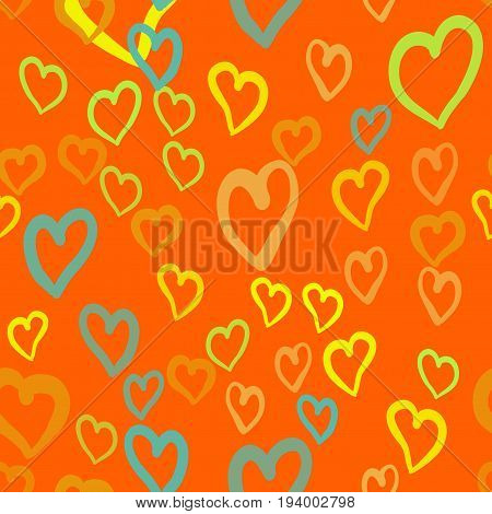 Orange hearts seamless vector tile. Valentines day background. Flat design endless chaotic texture made of tiny heart silhouettes.
