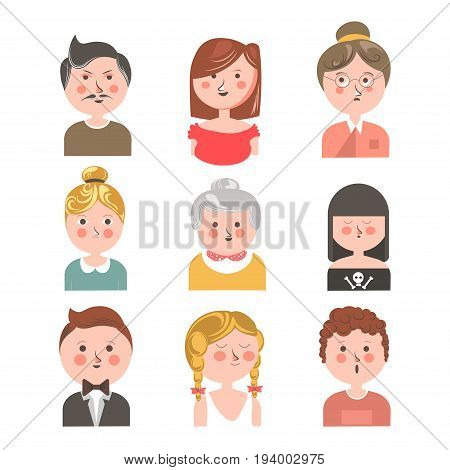Human avatar colorful collection isolated on white vector poster in graphic design. Portraits of young and aged male and female people showing their face emotions as happiness or thoughtfulness