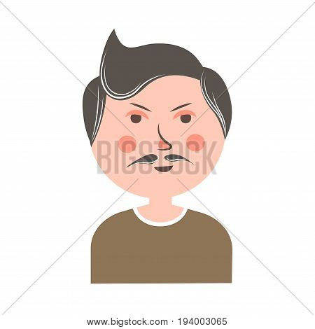 Serious man with mustache, thin eyebrows, pink cheeks, small eyes and big round head in brown sweater isolated cartoon flat vector illustration on white background. Funny male character portrait.