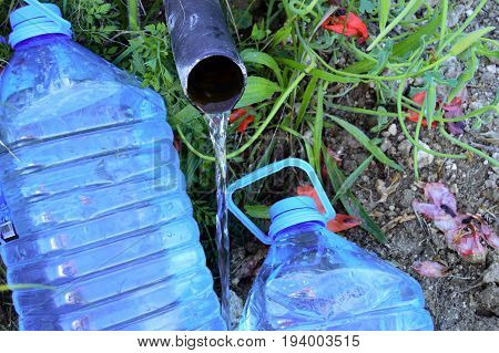 Natural water resources and fountains, filling water bottles