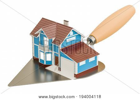 masonry trowel with house construction concept. 3D rendering isolated on white background