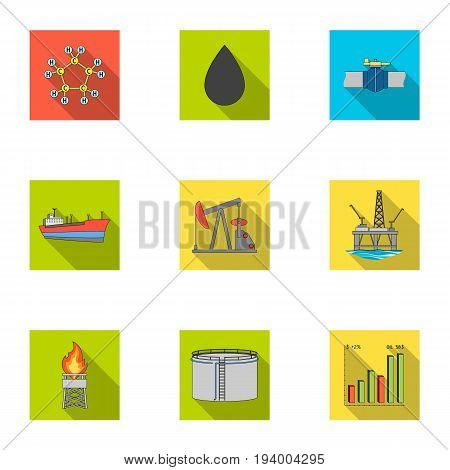 Oil rig, pump and other equipment for oil recovery, processing and storage.Oil set collection icons in flat style vector symbol stock illustration .