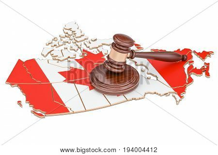Wooden Gavel on map of Canada 3D rendering isolated on white background