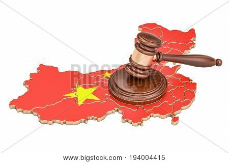 Wooden Gavel on map of China 3D rendering isolated on white background