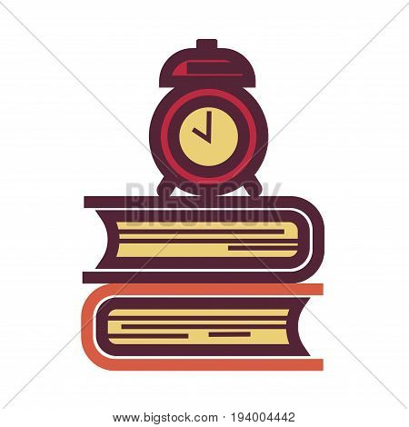 Pile of thick textbooks in hardcover and old-fashioned mechanic alarm clock on top isolated flat cartoon vector illustration on white background. Common student belongings for early wake up and study.