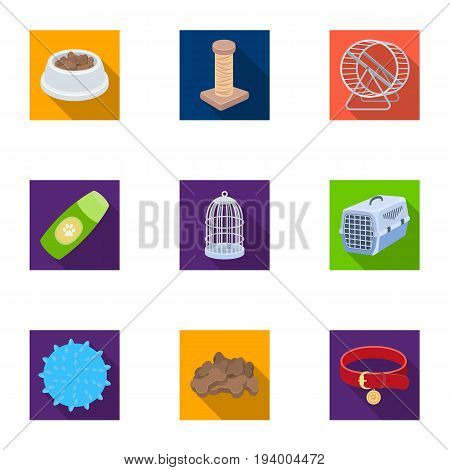Collar, pet food and other products. Pet shop set collection icons in   flat style vector symbol stock illustration .