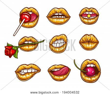 A collection of pop art icons of female lips with golden lipstick - ajar, bitten, kissing, with tongue, cherry and sugar candy. Badges, stickers, design elements, prints for T-shirts