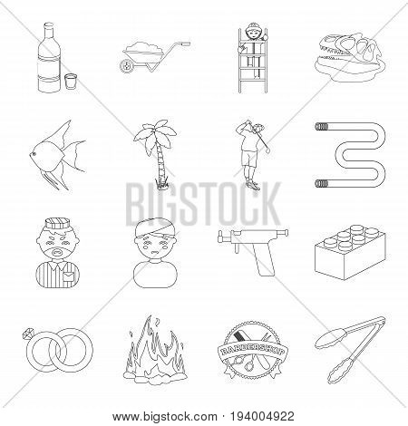 alcohol, sports, travel and other  icon in outline style.army, cooking, justice icons in set collection.