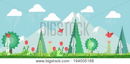 Spring landscape with green leafy trees, tall spruce, high mountains with snowy tops, red birds that fly, blooming tulips, fresh grass and rainy clouds in blue sky cartoon vector illustration.