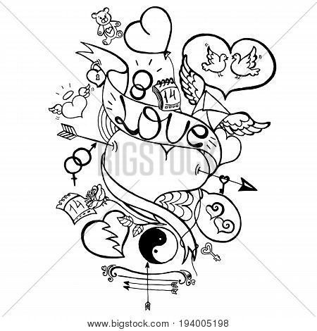 Uncolored Love Doodle, Happy Valentine's Day Illustration, Bow, Arrows, Hearts, Mars and Venus Symbol, Lock, Keys, Rose Flower, Letter with Wings, Two White Pigeons, Hand Drawn Vector EPS 10