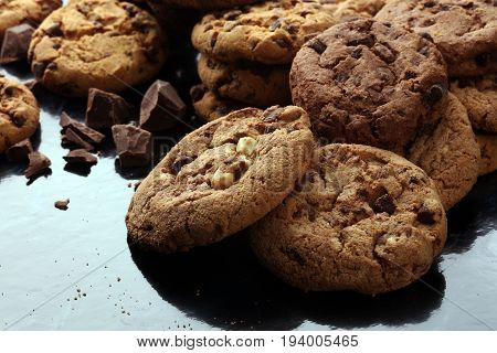 Chocolate Cookies On Marble Table. Chocolate Chip Cookies Shot