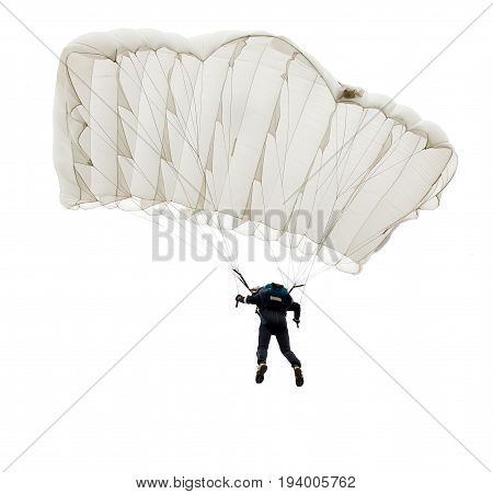 Jump Of Paratrooper With White Parachute, Isolated On A White Background.