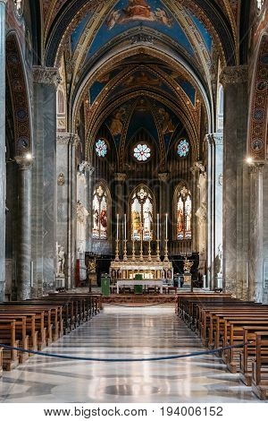 Rome Italy - August 18 2016: Interior view of church of Santa Maria sopra Minerva. Built in Gothic style